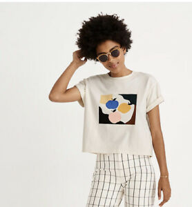 New-Madewell-Apple-Picking-Graphic-Easy-Crop-Tee-XL-T-Shirt-Boxy-Ivory-Top-NWT