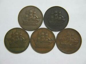 CANADA-HALF-PENNY-TOKENS-SHIPS-COLONIES-amp-COMMERCE-WORLD-COIN-LOT-5