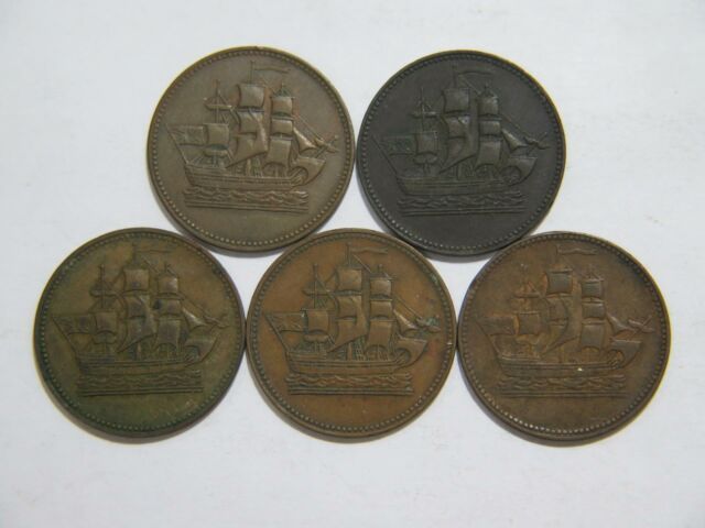 CANADA HALF PENNY TOKENS SHIPS COLONIES & COMMERCE WORLD COIN LOT (5) 🌈⭐🌈