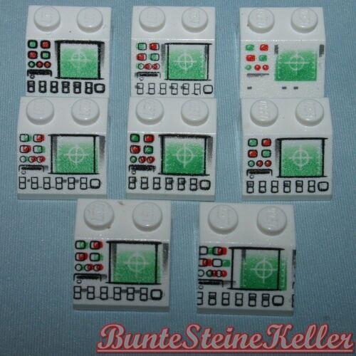 8 Stück weiße 3039 DACH STEINE 2x2 mit Druck Unterschiede Kontrollcenter SK167