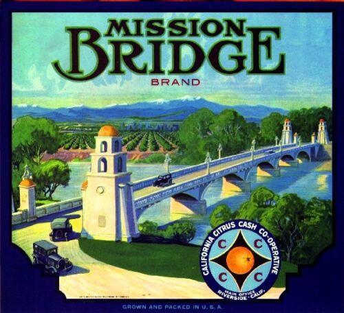 Riverside Mission Inn Bridge Orange Crate Label Print