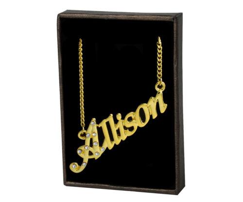 Name Necklace Allison 18K Gold PlatedWedding Unique Girlfriend Pendant Gift
