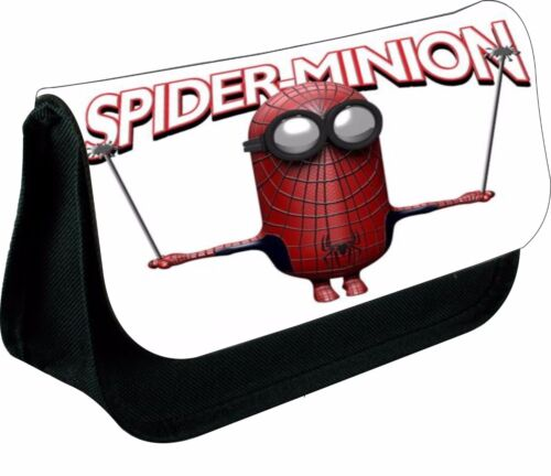 PERSONALISED SPIDER MINION MAN ZIPPED PENCIL MAKEUP CASE SCHOOL DS BAG