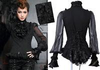 Chemise Gothique Lolita Steampunk Baroque Voilage Jabot Amovible Traîne Noire