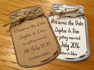 Rustic Mason Jam Jar Save The Date Cards With Envelopes Wedding