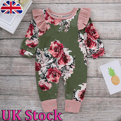 Toddler Baby Girl Long Sleeve Floral Romper Jumpsuit Bodysuit Clothes Outfits UK