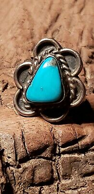 Big 31gm NAVAJO Old Pawn Ring sz9 Natural TURQUOISE Sterling Silver