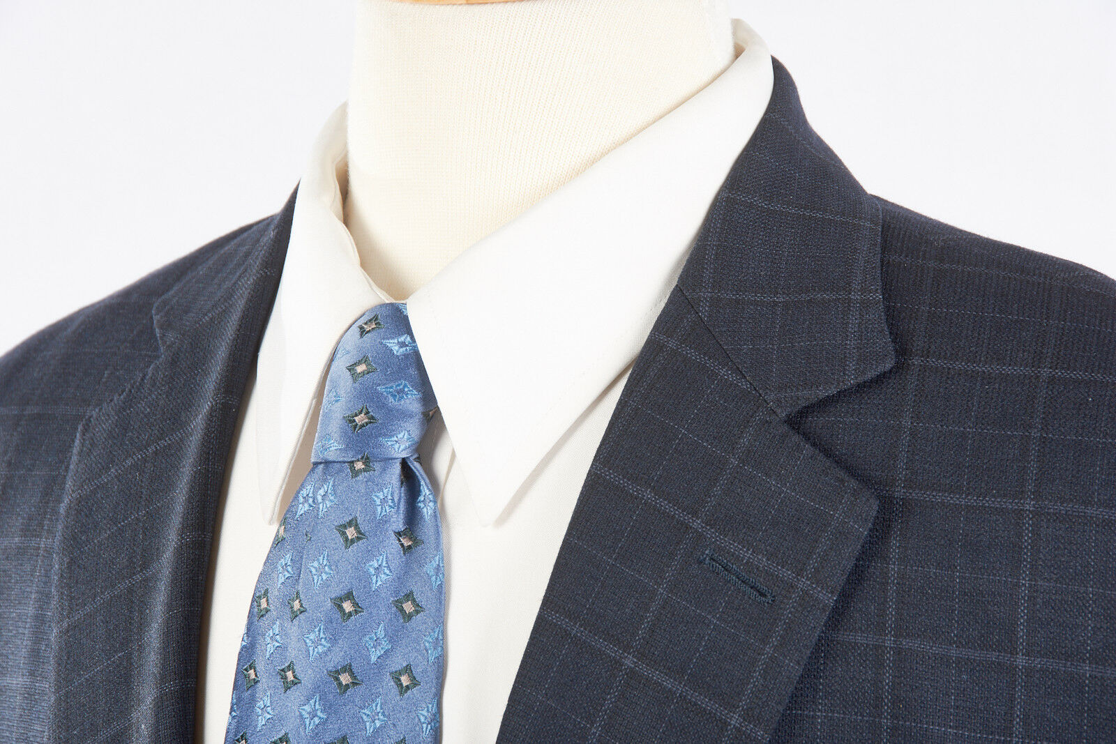 BROOKS BredHERS Sport Coat 41 L Madison Full Canvas Ocean bluee Windowpane Plaid