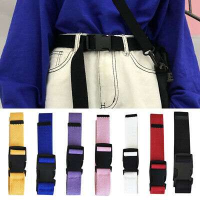 Outdoors  Women Men Waist Belt Nylon Canvas Adjustable Plastic Buckle Fashion