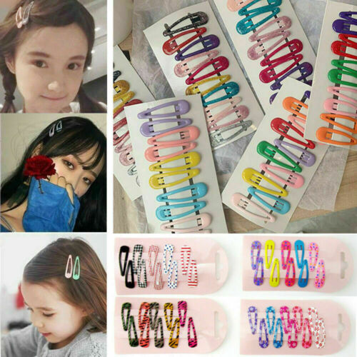 10Pcs Lot Boutique Girl Baby Kids Hair Clips Snap Hairpin Grip Candy Color Cute