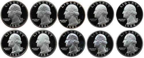1980-1989 S Complete Set Washington Quarters Gem Proof Run 10 Coins US Mint