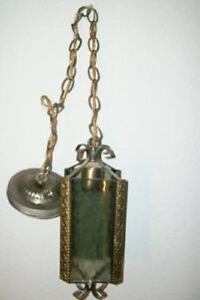 VINTAGE-FILIGREE-SMOKEY-GLASS-HANGING-PENDANT-LAMP-CHANDELIER-CHIC-SHABBY-MCM