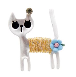 Cat Brooch Pin Badge Gift Blue Silver Gold Lover Jewellery Kitten Ladies Flower