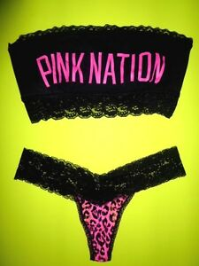 c20ddf23b3 Victorias Secret Pink Nation Bra Top Panty Set M S Fashion Show ...