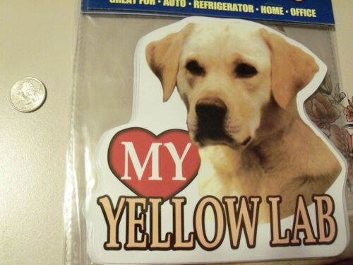 New <3 heart Love my YELLOW Lab Labrador Retriever Mega Auto Car Fridge Magnet