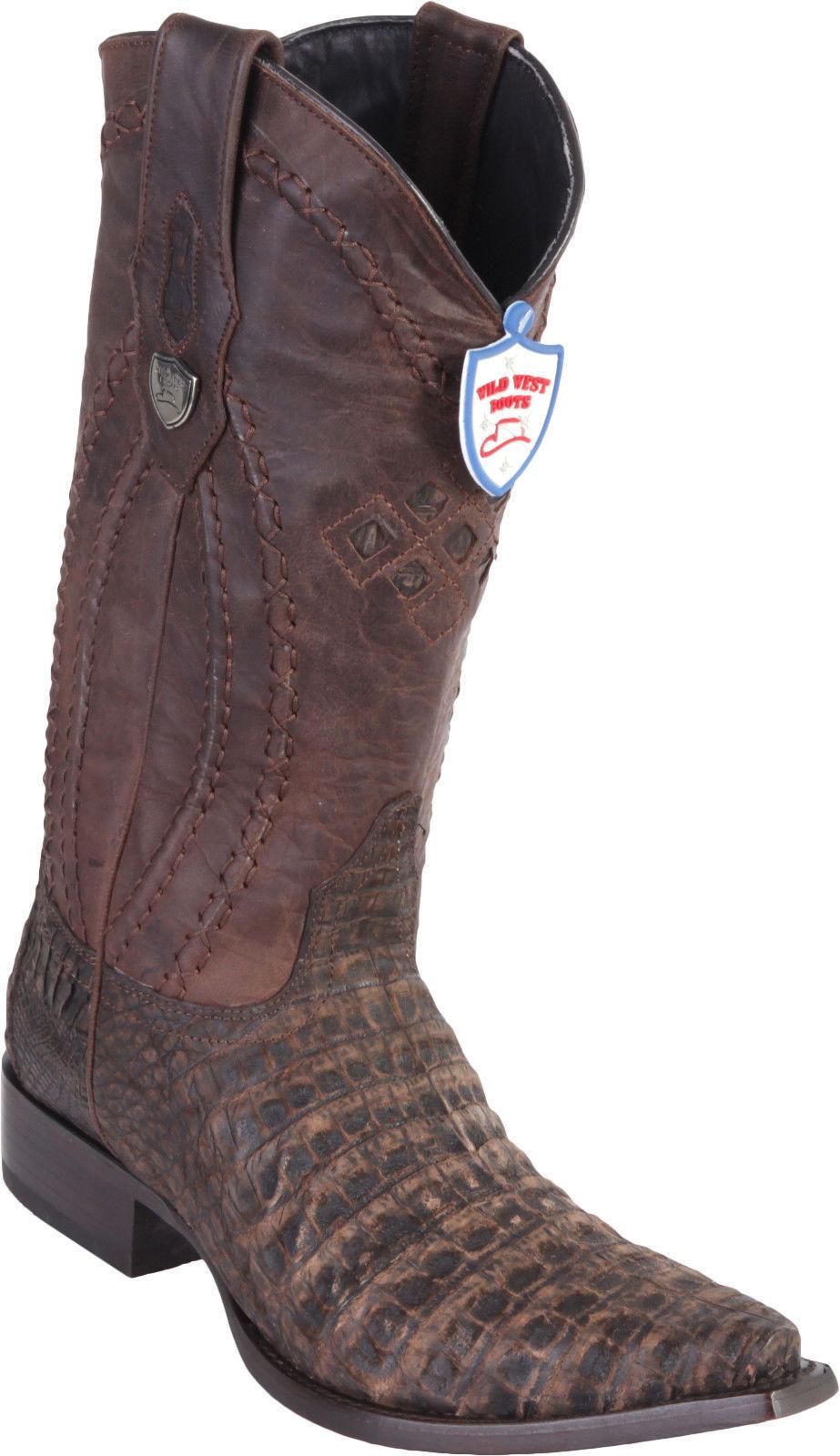 Wild West Cocodrilo Genuino Marrón Western Cowboy bota SNIP del vientre Toe (D)