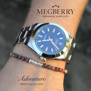 MEGBERRY-Mens-Beaded-Bracelet-Leopardskin-Jasper-Gemstone-925-Sterling-Silver