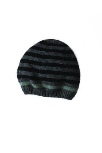 New Zealand Possum Fur Merino Wool Knitwear Stripe Hat