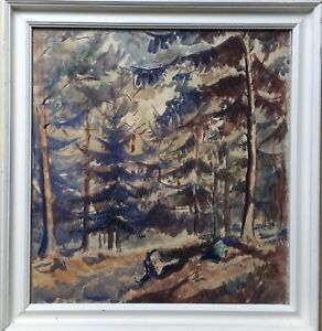 Forest-INTERIOR-Needle-Forest-Watercolour-White-Picture-Frame-Unsigned-43-x-41