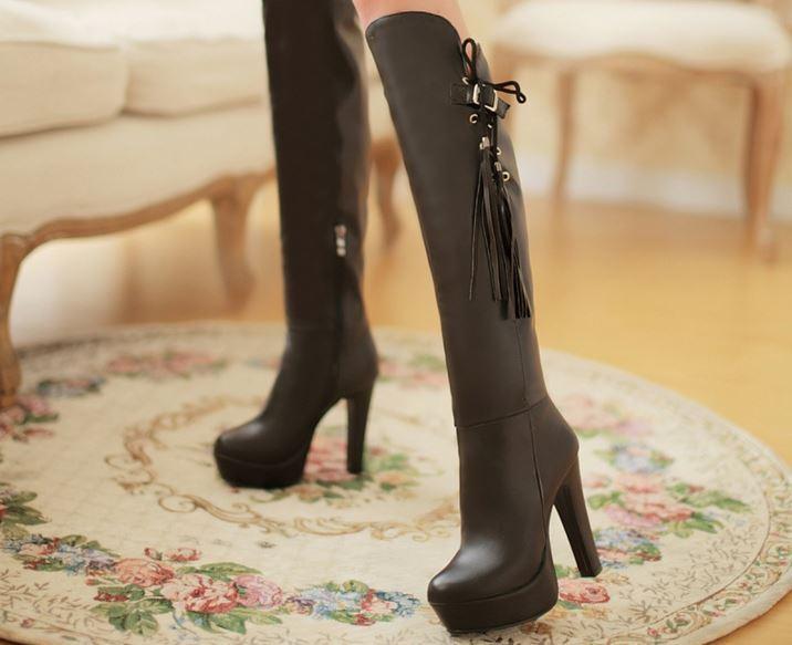 Stiefeletten Stiefel Schenkel Frau Plateau und Absatz 12 cm Elegant Komfortabel