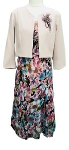 Womens-Ladies-Floral-Dress-With-Bolero-Jacket-For-Wedding-Church-Parties-Events