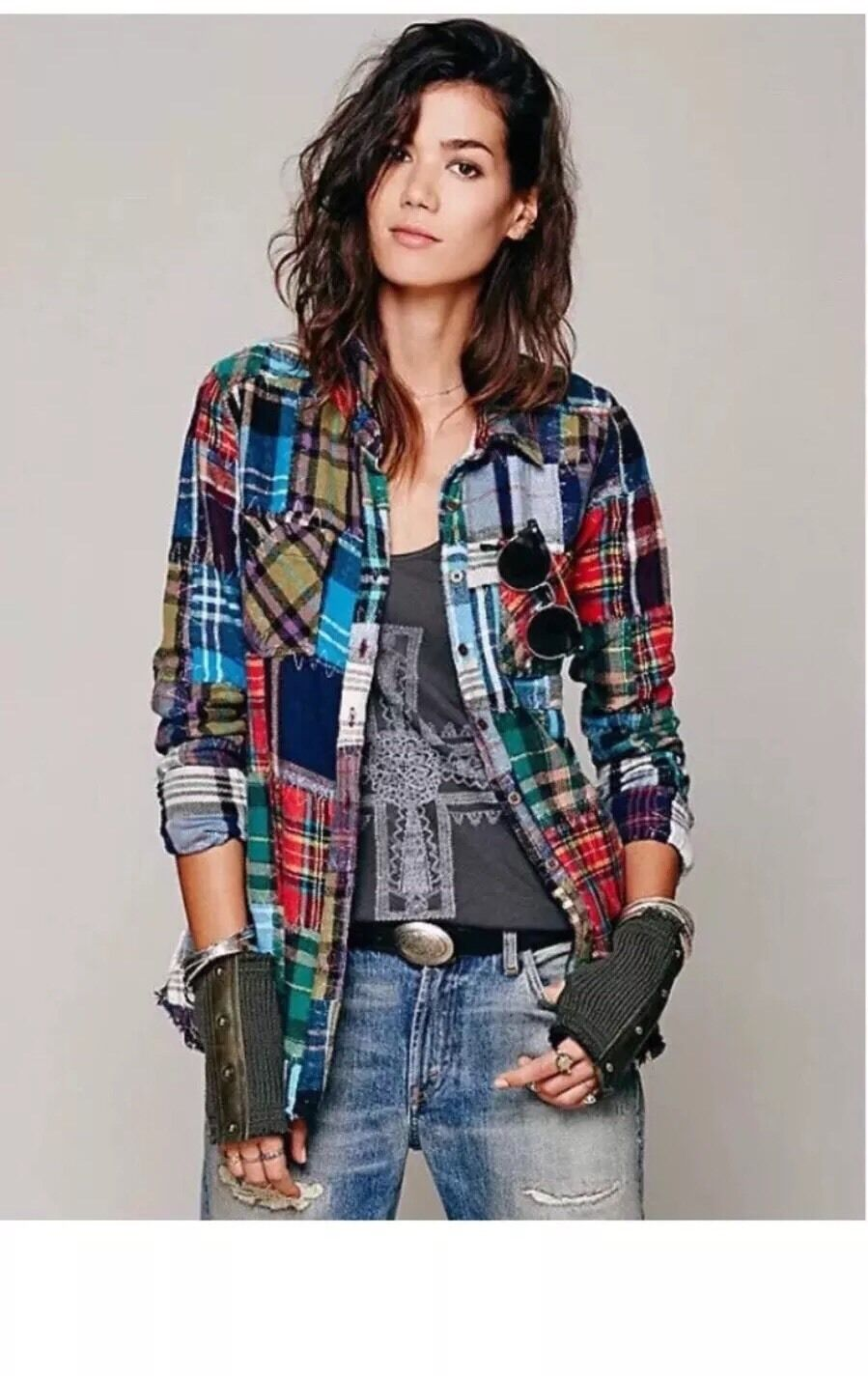 Free People Patchwork Lost In Plaid Flannel Shirt  Top Buttondown Small RARE