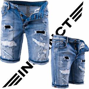 Bermuda-Uomo-Jeans-Shorts-Strappati-Strappi-Pantaloni-Corti-Cotone-Slim-Fit