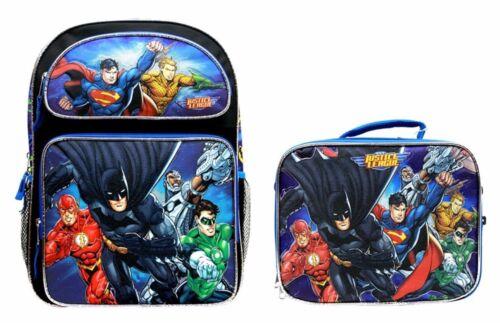 "Justice League Batman /& Superman 16/"" Backpack and 9/"" LunchBag SET"