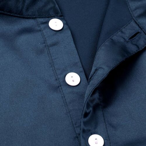Mens Satin Long Sleeve Sleep Shirt Nightshirt Nightgown Pajamas Loose Pullover