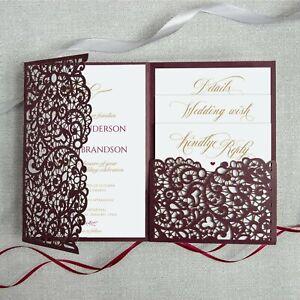 Buste Partecipazioni Matrimonio.Partecipazioni Matrimonio 2020 Borgogna Taglio Laser Con Gratuito