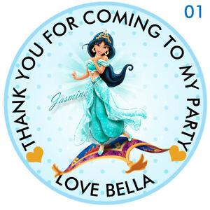 30-x-Personalizzato-Principessa-Jasmine-50-mm-2-034-ADESIVI-Party-Festa-grazie-sigilli