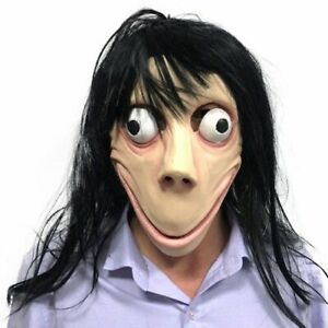Details About Halloween Creepy Scary Momo Evil Latex Mask Long Hair Costume Party Props Us