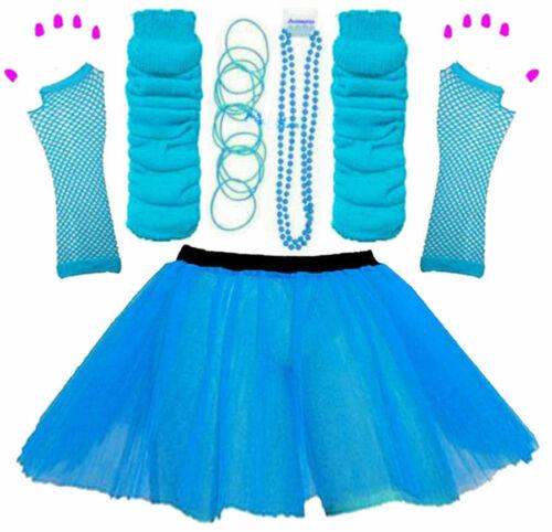 NEW GIRLS NEON TUTU SKIRT HEN PARTY 80/'S FANCY DRESS ACCESSORIES BANGLES BLUE