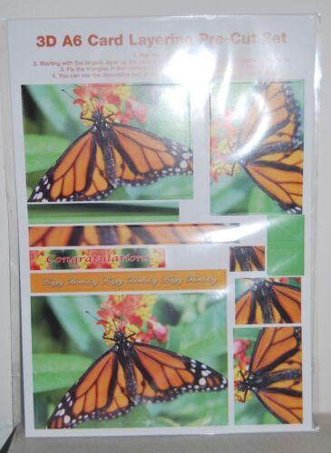 Doolicraft Butterfly 3D A6 capas precortadas de hoja 2 Hojas