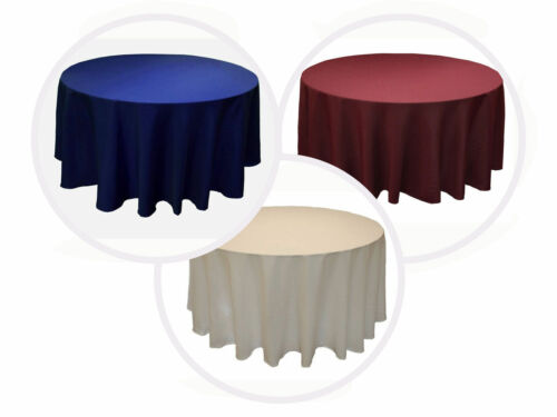 "10 PACKS 132"" inch ROUND Polyester Tablecloth WEDDING PARTY 25 COLORS 6 ft Table"
