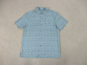 Tommy-Bahama-Button-Up-Shirt-Adult-Medium-Blue-Green-Silk-Casual-Mens-A28