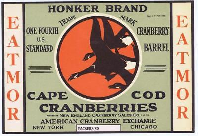 ORIGINAL 1930S CRANBERRY CRATE LABEL MISTLETOE CHRISTMAS CAPE COD CHICAGO NYC