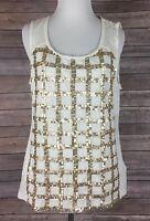 Chicos Size 1 Medium Ecru Cream Tank Top Gold Shine Sequin Top