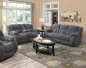 Details about COZY CHARCOAL TEXTURED CHENILLE RECLINING MOTION SOFA LIVING  ROOM FURNITURE