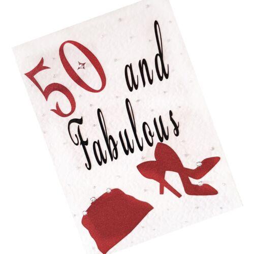 50th 40th /& 30th Birthday Card Handbag /&  Shoes Embellishments with Diamante