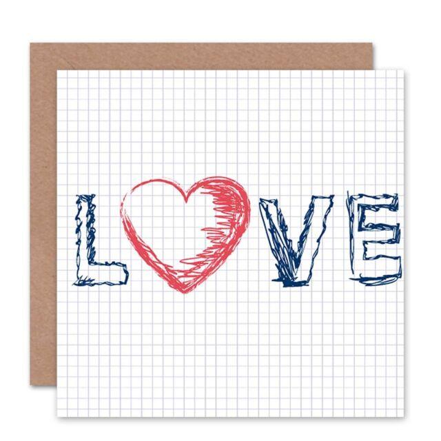 Love Graph Math Pen Romance Heart Valentines Day Blank Greeting Card