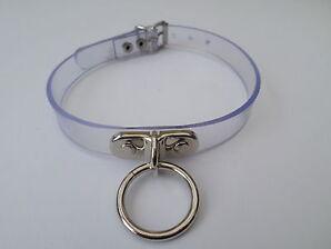 "clear pvc fetish bondage slave collar with locking lockable buckle 15-18"""
