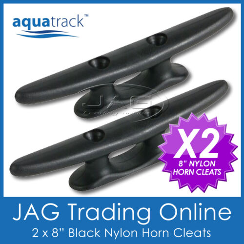 2 x 200mm 8 UV RESISTANT BLACK NYLON/PLASTIC CLEATS - MARINE/BOAT/YACHT/SAILING
