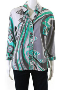 Emilio-Pucci-Women-039-s-Button-Down-Collared-Top-Cotton-Gray-Teal-Green-Size-8