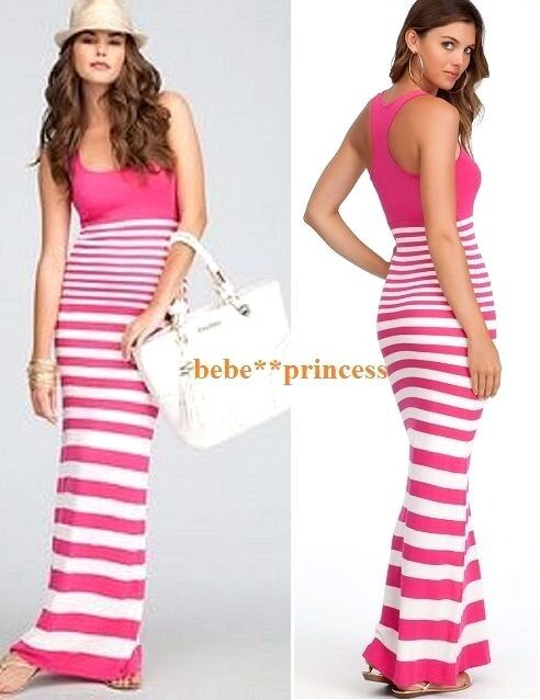 NWT bebe pink white striped straps sweater maxi top dress stretchy S small party