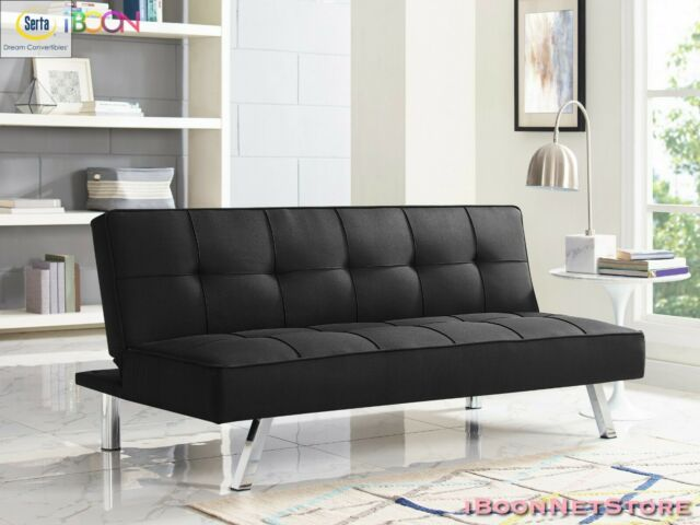 Futon Sofa Bed Sleeper Convertible Couch Tufted Foldable Twin Size With Mattress