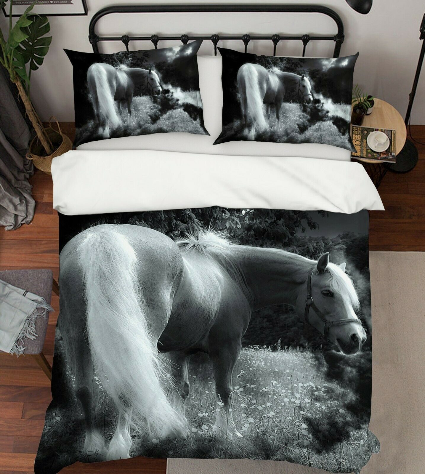 3D horse Habitat G56 Animal Bed Pillowcases Quilt Duvet Cover Set Queen King We
