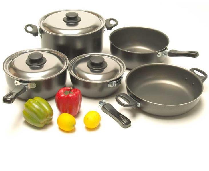 Aluminium-Topfset Gourmet, 11-teilig, schwarz - Camping, Outdoor