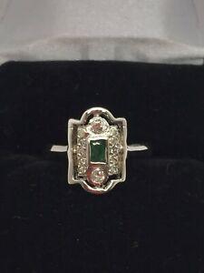 14k-Solid-White-Gold-Genuine-Emerald-amp-Diamond-Ring