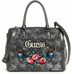 Details zu New Womens GUESS Black Signature Embroidered Floral Purse Crossbody Bag Satchel